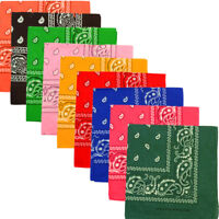 6Pack Paisley Print Double-Sided Scarf Bandana 100% Cotton Multi Colors 22 x 22