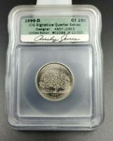 1999 D Connecticut Statehood Quarter Coin ICG Andy Jones Engraver Signature BU