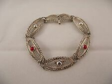Antique Handmade Israel Sterling Silver 925 Panel Filigree Link Coral Bracelet