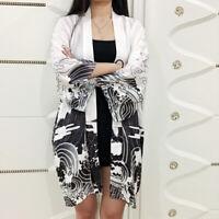 Lady Japanese Kimono Coat Loose Yukata Outwear Long Bathrobe Tops Dragon Casual