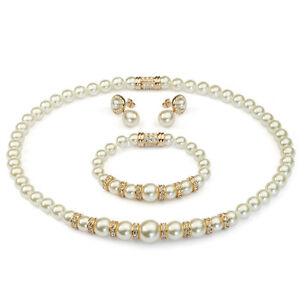 LOVELY 18K ROSE G/P AUSTRIAN CRYSTAL & PEARL NECKLACE, BRACELET & EARRING  SET