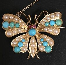 ANTIQUE VICTORIAN 15ct GOLD BROOCH BUTTERFLY PIN c1850 RUBY PEARL TURQUOISE