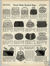 1938 PAPER AD Hand Made Bead Beaded Hand Bag Purse Seed Pearl Evans Compact