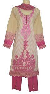 Pink cream Lawn Embroidery Dress Kurta Shalwar Kameez Suit Bollywood Designer