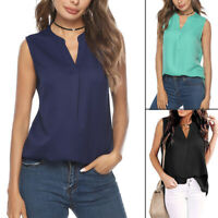 Womens Summer Chiffon Tank Top Ladies Solid T Shirt Casual Loose Tops Blouse