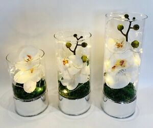 Glass Vase With Led String Lights Artificial White Orchid Flowers Wedding Decor