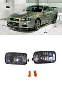 New Smoked Front Bumper Turn Signal Indicator Lights For NISSAN GTR Skyline R34