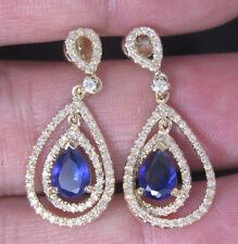 18ct Yellow Gold Stunning Natural Blue Sapphire & Diamond Earrings VS