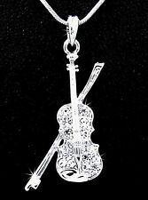 Violin And Bow Silver Tone Austrian Crystal Pendant Necklace Play Music S65