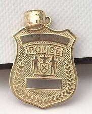 14k yellow Gold Police Badges Charm Pendant Diamond Cut Mans Mens