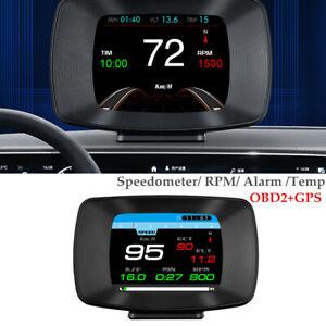 OBD2+GPS Gauge LCD Display Car Head Up Instrument Speedometer RPM Alarm Temp Kit