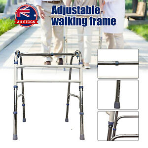 Adjustable Height Folding Aluminium Walking Frame Medical Walker Mobility AU -