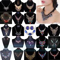 Fashion Charm Bib Chain Choker Pendant Necklace Chunky Crystal Statement Jewelry
