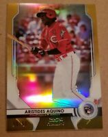 2020 Bowman Sterling Aristides Aquino GOLD REFRACTOR RC 9/50 REDS Rookie Stub