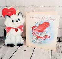 VTG Cats 50s 60s Greeting Card Ephemera Anthropomorphic Valentines Scrapbook USA