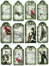 A/4 Scrapbook Paper Gift & Hang Single Sheet 12 Tags Love Green