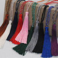 Elegant Crystal Necklace Tassel Pendant Jewelry Women Long Sweater Chain