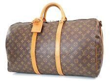Authentic LOUIS VUITTON Keepall Bandouliere 50 Monogram Canvas Duffel Bag #37633
