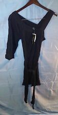 French Connection Cara Cheesecloth 1 Shoulder Dress Black sz 8 NWT