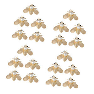 20 Alloy Pearl Bee Shape Flatback Button for Jewelry Making DIY Scrapbook Crafts