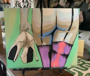 'Goodbye is Forever' Orig Painting on Canvas Woman Stockings High Heels