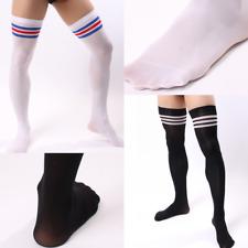 US Men Soccer High Stockings Velvet Black-White Thigh Sport Striped Stocks Hot