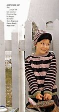 KNITTING PATTERN CHILD 4-12yrs STRIPED JUMPER & HAT LONG-SLEEVED KM AUA