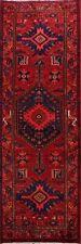 Vintage RED Geometric Tribal Hamedan Hand-knotted Runner Rug Wool Oriental 3x10
