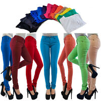 New Womens Jeggings Size 8 Ladies Fit Skinny Coloured Stretchy Trousers Jeans