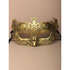 NEW Matt gold brushed metal effect large Masquerade Mask Eye Gothic halloween