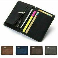 Men Leather Mini Wallet Money Clip Slim ID Credit Card Holder Coin Pocket 5Color