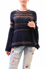 Free People Women's Craft Time Bell Sleeve Sweater Size XS Navy RRP £99 BCF78