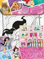 Disney Princess Colouring Set Art Craft Pencils & Stickers Travel PSCST3