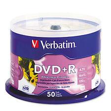 Verbatim Inkjet Printable DVD+R Discs White 50/Pack 95136