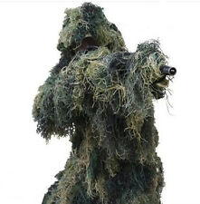 New Ghillie Suit XL/XXL Forest Camouflage Camo Woodland Hunting 4-Piece + Bag