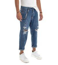 Pantalone Uomo Lungo Jeans Denim Blu Rotture Cinque Tasche Catenina GIOSAL