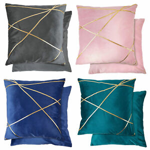 "Fashion Smooth Velvet Gold Band Stripe Modern Cushions and Covers, 17"" (43cm)"
