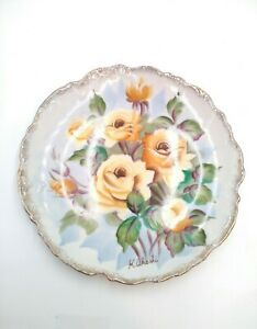 Early to Mid 20th C Hand Painted Ucagco China Plate Signed K. Akashi, Flowers