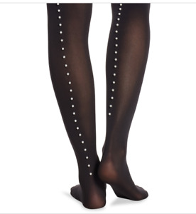 Wolford Size XS Authentic Black Mother Pearl Back Seam Accent Tights Pantyhose