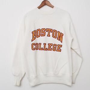 Vintage 80s Boston College MA Raglan Sweatshirt Crewneck Made In USA Size MEDIUM