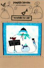 PUMPKIN BERRIES 'SNOWBALLS FOR SALE' SNOWMEN PRIMITIVE FOLK ART QUILT PATTERN