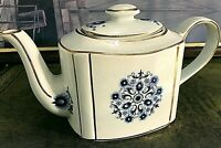 VINTAGE TEA POT HADDON ARTHUR WOOD ENGLAND WHITE, GOLD TRIM, BLUE FLOWER