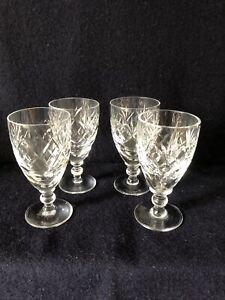 Four Cut Glass Wine Glasses Royal Doulton?