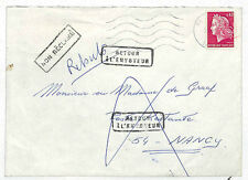 EE56 1968 FRANCE RETURNED MAIL Nancy Multiple 'Retour' Explanatory Postmarks: