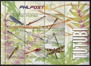 """Philippines 2015 Insects Dragonfly """"TUTUBI"""" sheet of 9  mint NH"""