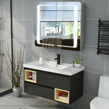 Bathroom Mirror Illuminated LED Cabinet with Light Sensor Two Door Audio Shaver