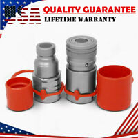 "1/2"" NPT Skid Steer Flat Face Hydraulic Quick Connect Couplers Coupling Set"