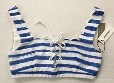 Marysia J.Crew Palm Springs Tie Bikini Top in watercolor, Sz. S, Blue/White