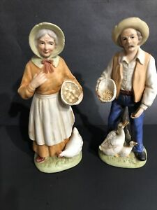 Home Interiors HOMCO Porcelain Old Man & Woman Farmer Figurines 1426 Large