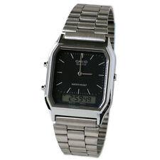 Para Hombre Clásico Combi Timer Casio aq230a-1dmq Cronómetro Doble Hora Reloj * nuevos